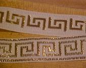 6 Yds White Greek Key Trim with Gold Metallic