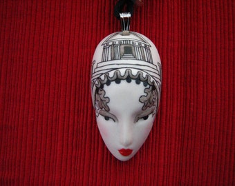 Adagio jewelry,Greek Goddess face necklace, vintage Adagio porcelain