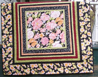 Small Quilt or Large Throw - A Country Flower Garden