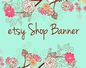 Premade Etsy Shop Banner Avatar Set - natural leaves flower etsy banner set - no346