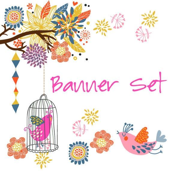 Premade Etsy Shop Banner Avatar Set - pink bird cage branch flower tree etsy banner set - no223