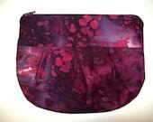 Purple Batik Makeup Pouch Bag