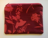 Red Wild Flower Makeup Pouch Bag
