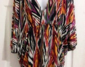 Ikat Tribal Print Draped Tunic Caftan Tunic Knit Top 2X 18W 20W Plus size Free USA SHipping