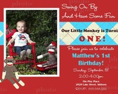 DIY Sock Monkey PRINTABLE Birthday Party Invitation - Red and Blue