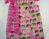 Girls pillowcase dress Urban Circus Elephants in Pink custom made by Baby Harrill