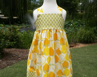 Girls Knot Dress Juicy Lemons sizes 6 months-4T by Baby Harrill