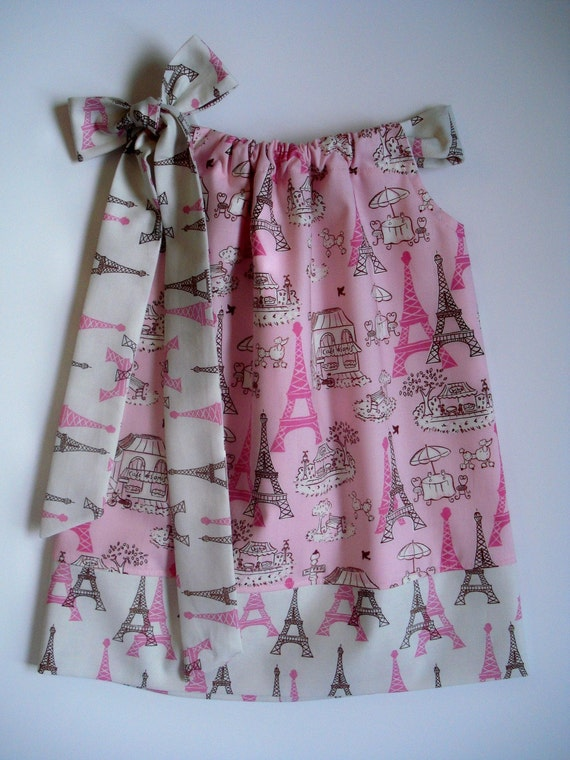 Girls pillowcase dress Vive le France custom made by Baby Harrill LAST ONE