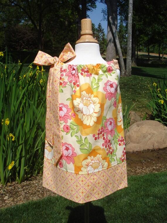 Sale Girls Pillowcase Dress Splashy Citrus Rose LAST ONE 6 m, 12 m, or 18 m you pick size by Baby Harrill