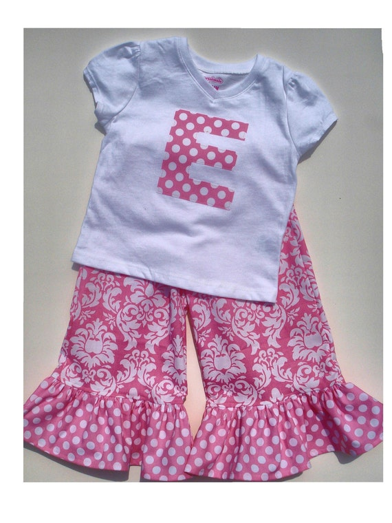 Girls Ruffle Pants/capri & tee/onesie in Candy Pink Damask by Baby Harrill