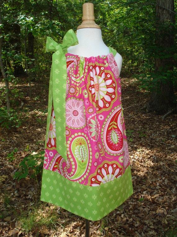 Girls Pillowcase Dress Gypsy Bandana Collection Pink Paisley sizes 6 month-4T by Baby Harrill