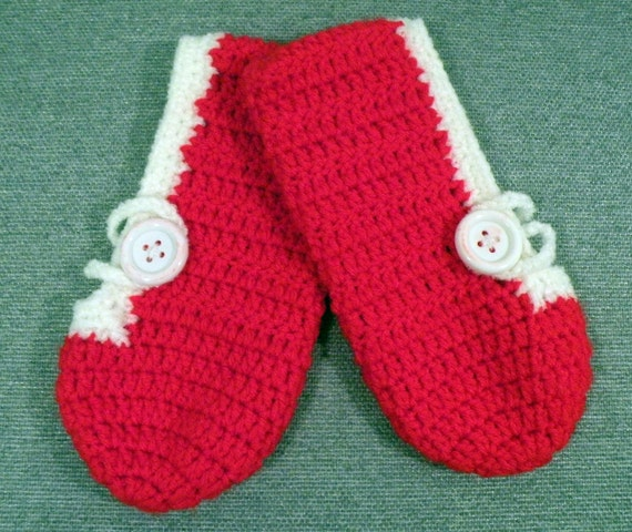 Simple Red and White Slippers, Slippers for Charity