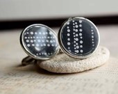 Cufflinks Black and White polkadots round gunmetal--ON SALE