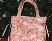 Quilted Toile Christmas  Purse/Tote Bag  LAST ONE