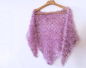 Fur faux knitting lilac shawl