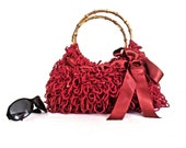 Red Shaggy Knitted Hand Bag-Bamboo Handle-Ribbon