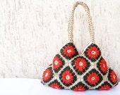 Natural color crochet handbag with gift phone case-orange-cream-green