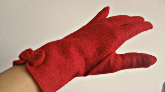 very red wool gloves