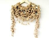 Curly Mulberry Long  Camel Pompom Handcrochet Neckwarmer Scarf Necktie Wrap