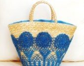 Turquoise Blue Wickerwork Bag Adorned Handcrochet Lace