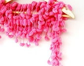 PINK Curly Mulberry Long Pompom Handcrochet Neckwarmer Scarf Necktie Wrap