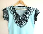 Beach Dress,Summer Dress,Printed Pure Cotton,Natural, EcoFriendly Handcrohet Dress