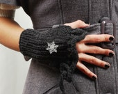 Charcoal Grey Handwarmers,Fingerless Gloves with Snowflake Brooch
