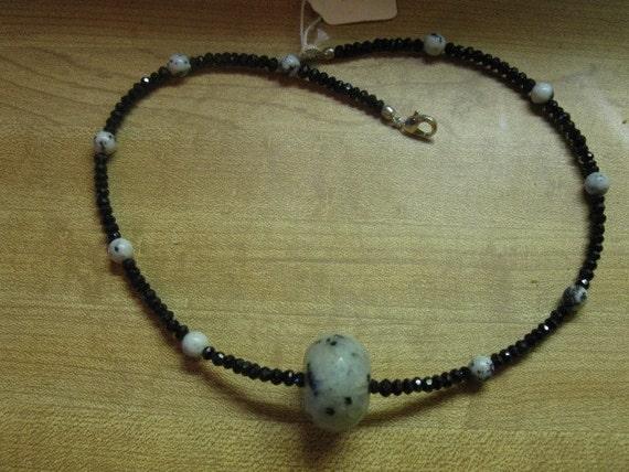 Faceted black spinel & kiwi jasper necklace, sterling silver