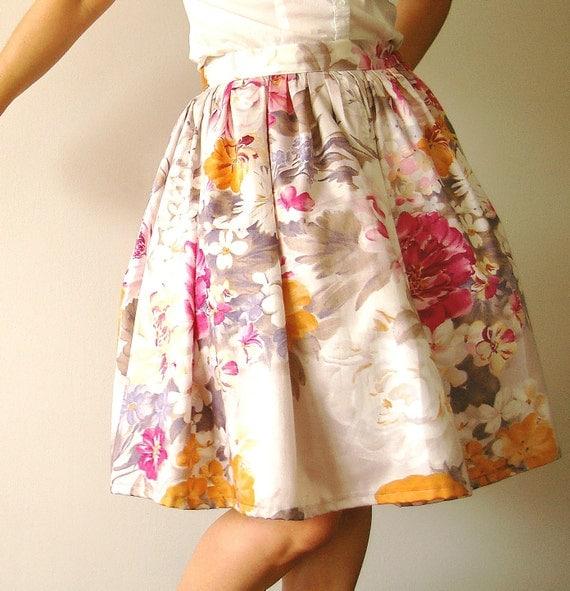 SALE - Vintage inspired peonies skirt - Ready to wear