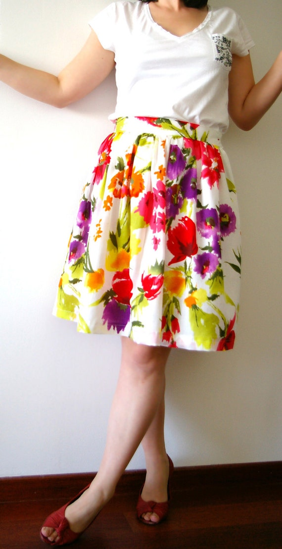 SUMMER SALE - Full gathered skirt -Narcissus, poppies and irises