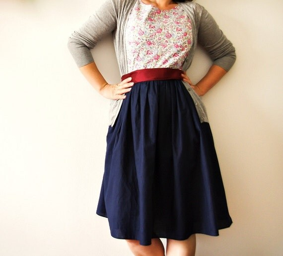 Vintage inspired dress -romantic floral cotton dress- bridesmaid dress
