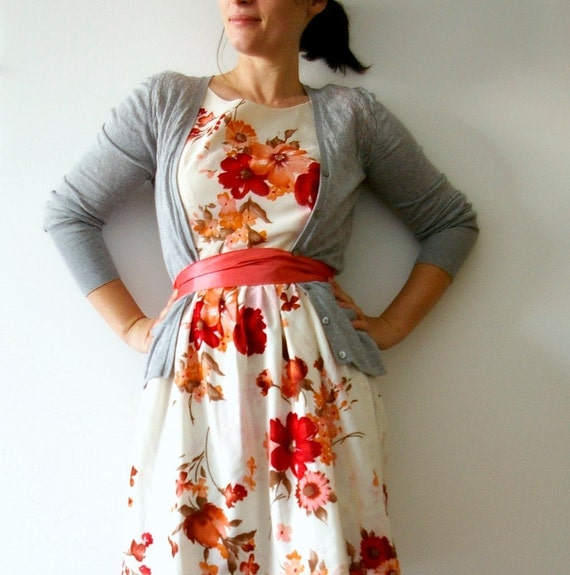 Vintage inspired tea dress - red magnolia dress bridesmaid dress - last one
