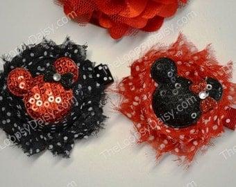 Shabby Chic Minnie Mouse Hair Bow, Minnie Mouse Headband, Minnie Mouse Hairbow, Shabby Flower, Minnie Mouse Birthday, Minnie Mouse Dress
