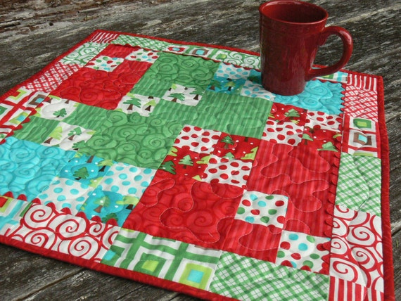 Bright Colors Christmas Table Topper Free Shipping in the USA
