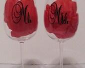 Mrs. & Mrs. Newlywed Wine Glasses Set
