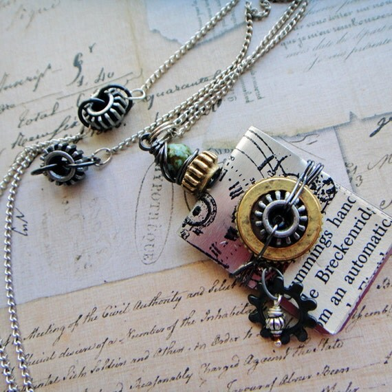 OOAK, All geared up, steampunk book necklace, literary classic series, mixed metals