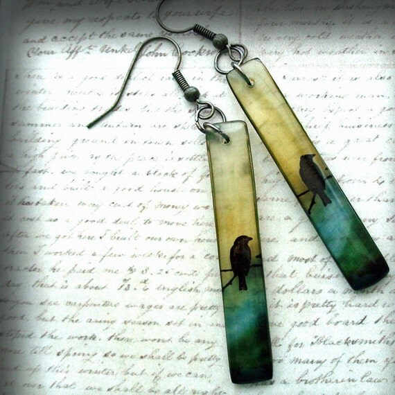 Haunted bird, resin earrings,solitude earrings,olive, blue,black