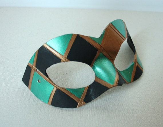 Harlequin Mask in Metallic Green, Gold and Black - Handmade Leather Domino Mask