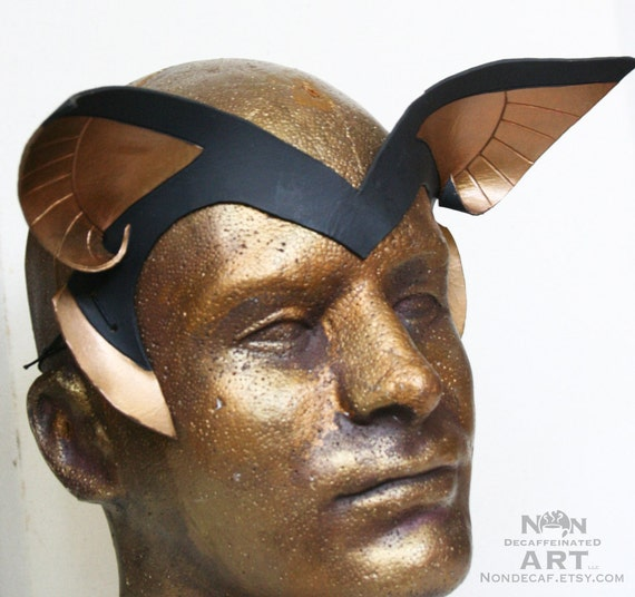 Egyptian inspired Handmade Leather Headdress Anubis Ears in Black and Dark Gold - small ears