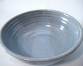 Handmade Pottery Country Cottage Style Serving Bowl Sky Blue, Natural Muted Earthtone Brown