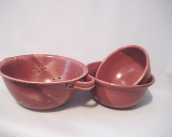 Colander and Serving Bowl Set of 3 Handmade Pottery Berry and Mixing Bowls Glazed Raspberry Mauve