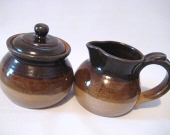 Sugar Bowl and Cream Pitcher Breakfast Set - Dark Chocolate and Toasty Brown - Handmade Pottery