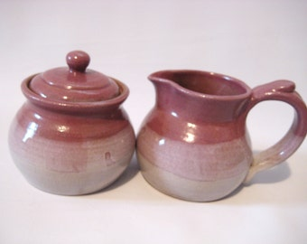 Sugar Bowl and Cream Pitcher Breakfast Set - Mauve Pink, Grey - Handmade Pottery