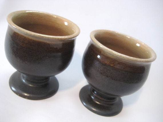 Two Wine Goblets Handmade Pottery Teacups Glazed Dark Chocolate Brown and Natural Clay Tan