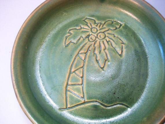 Soap Dish Handmade Pottery Tropical Coconut Tree Etch Sgraffito Scratch Art Glazed Muted Green