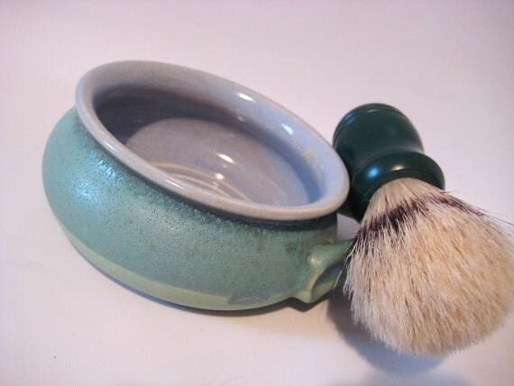 Shaving Mug - Handmade Pottery Retro Blue Green and Sky Blue - Ridges for Good Soap Lather Comfort Shave