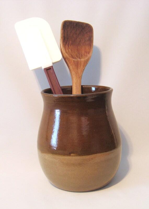 Kitchen Utensil Holder Handmade Pottery Glazed Golden Brown Amber & Natural