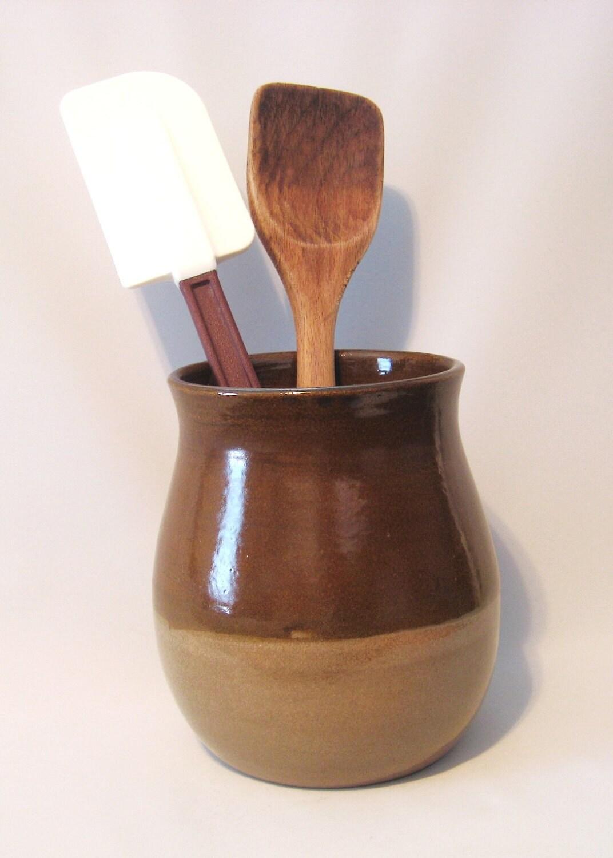 Kitchen utensil holder handmade pottery glazed golden brown - Unique kitchen utensil holder ...
