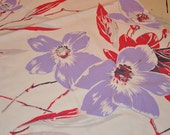 Vintage pink and purple clematis tablecloth