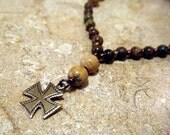 Tan Jasper Anglican Rosary Bracelet, Prayer Beads